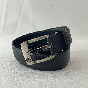MCM Black Leather Silver-tone Buckle Belt, 32